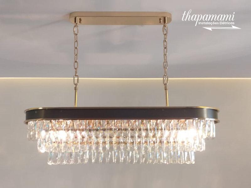 Instalação de Lustre de Cristal Moderno Criativo de ouro com pingentes de cristal